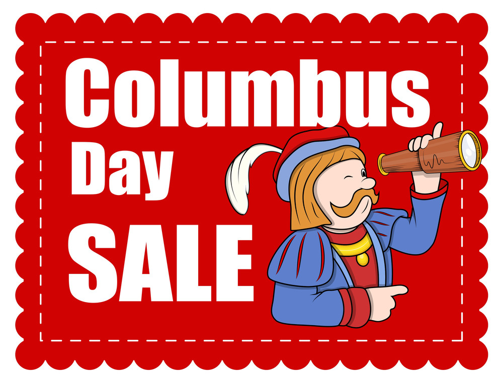 Columbus Day Cartoon Sale Banner