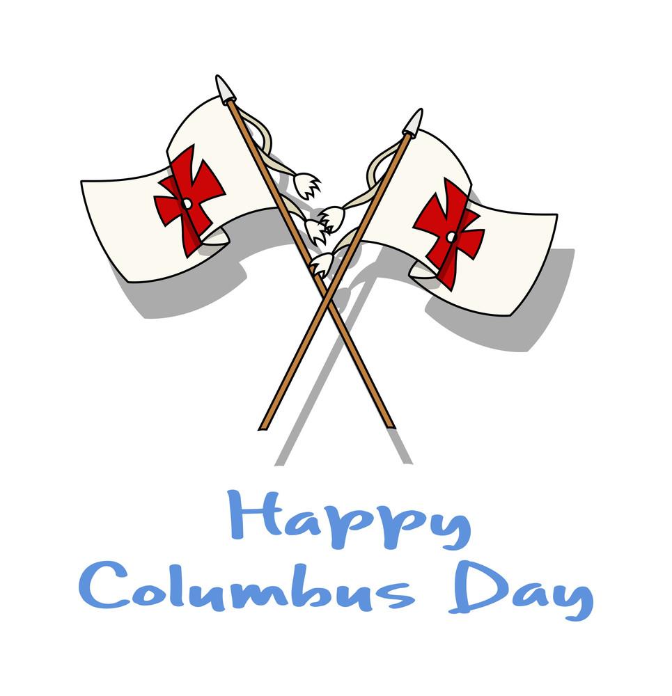 Columbus Day Cross Flags Vector