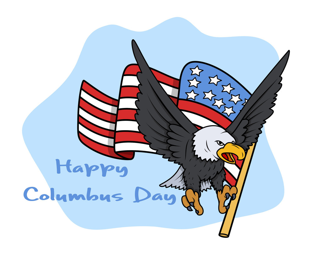 Columbus Day Eagle With Flag Vector