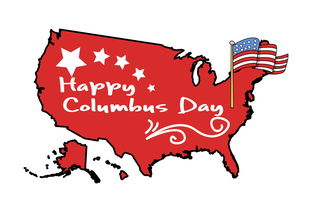 Columbus Day Map Vector Graphic Banner