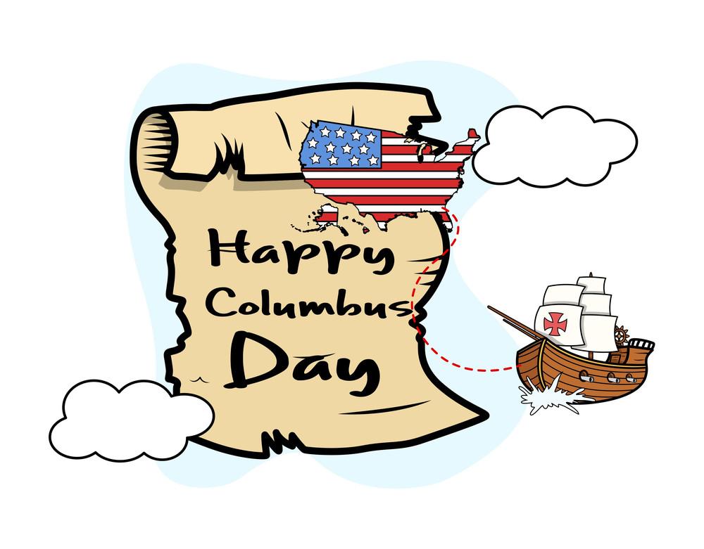 Columbus Day Parchment Banner Graphic