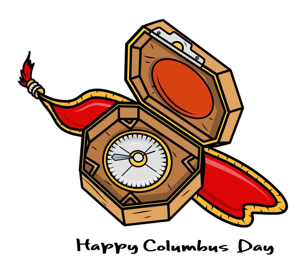 Columbus Day Retro Compass Vector