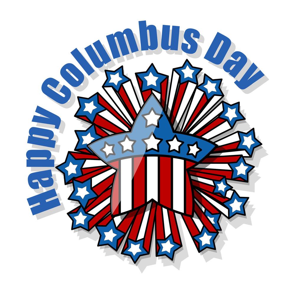 Columbus Day Retro Decorative Stars Banner