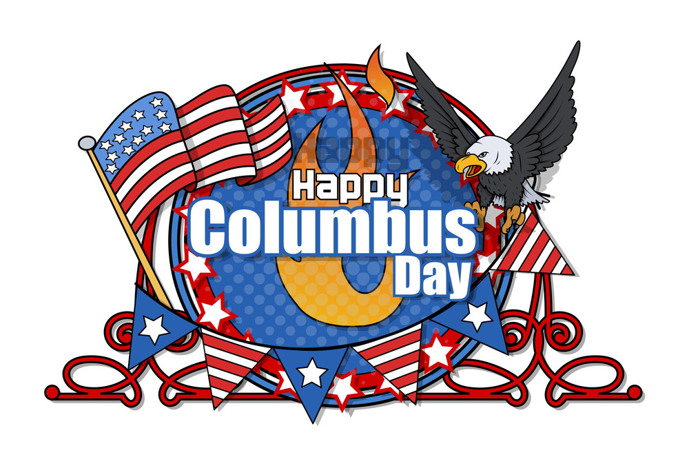 Columbus Day Retro Graphic Frame Banner