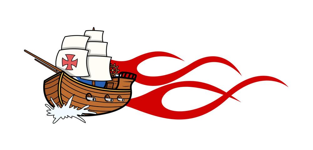 Columbus Day Sailing Boat Vector Graphic