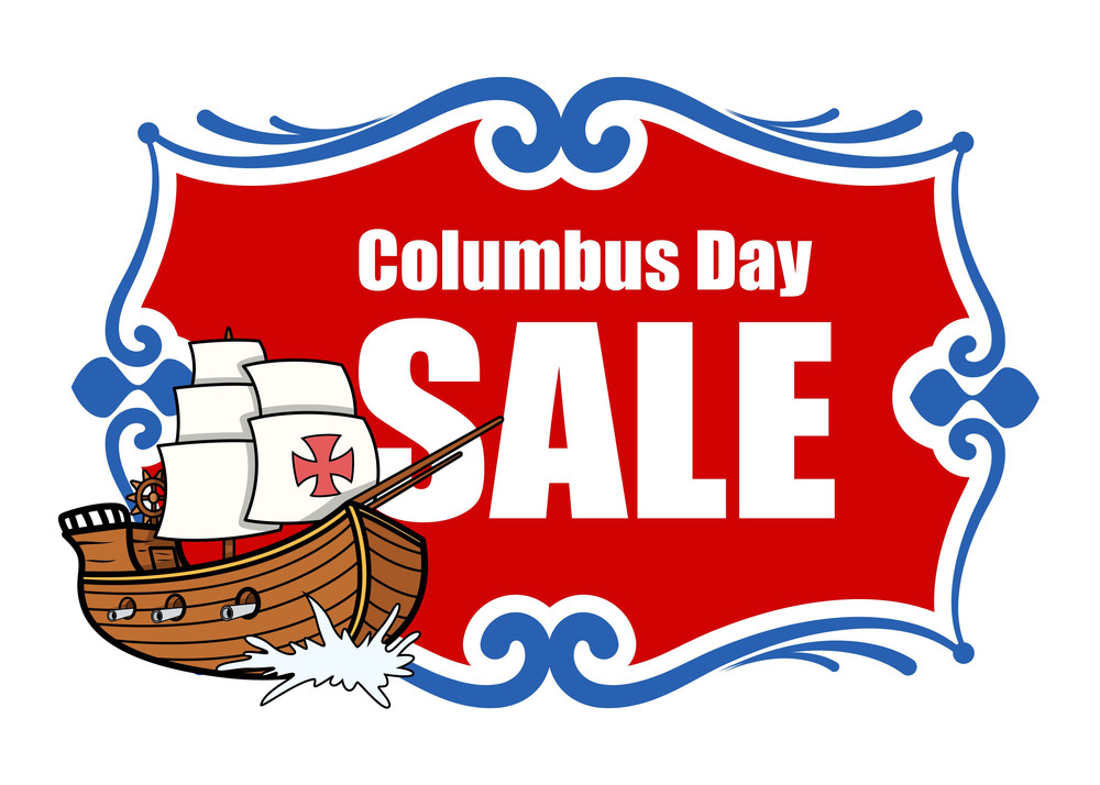 Columbus Day Sale Banner With Sailing Boat Vector