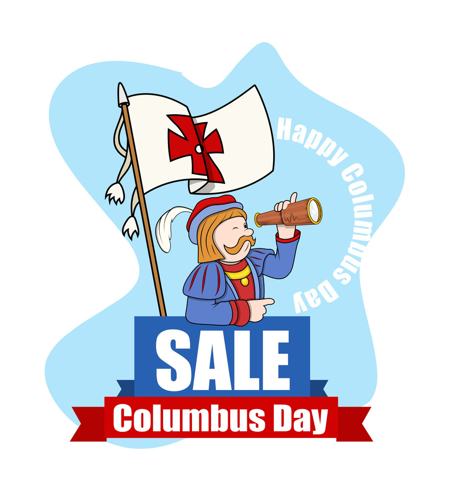 Columbus Day Sale Cartoon Man Graphic Banner