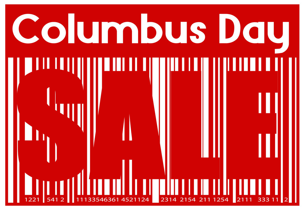 Columbus Day Sale Graphic Barcode Banner
