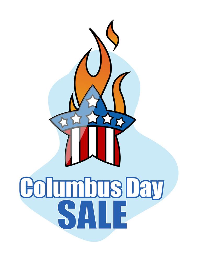Columbus Day Sale Retro Star Graphic Banner