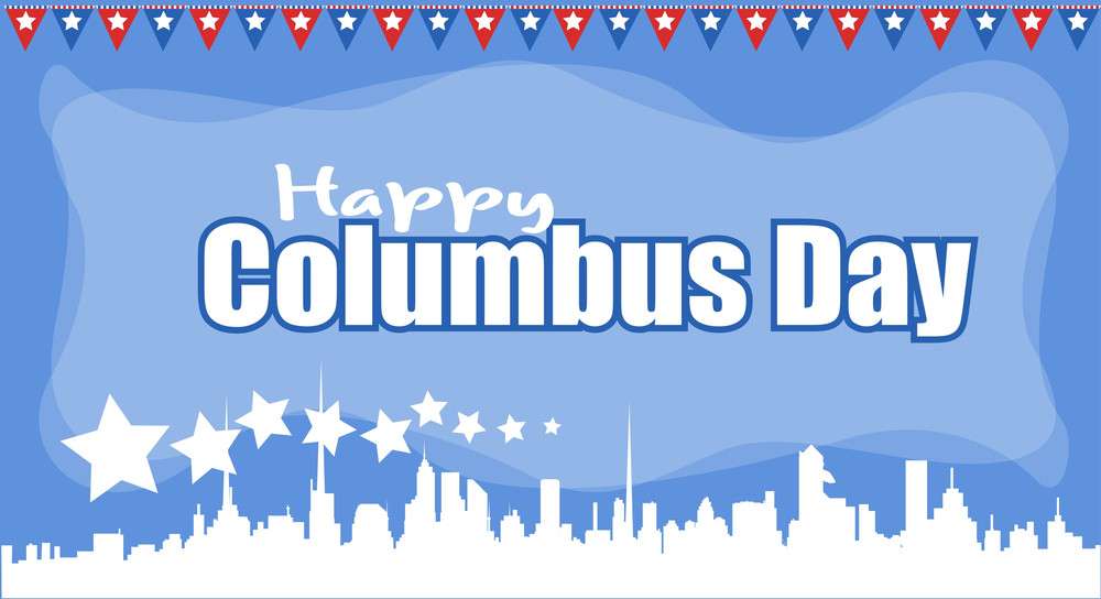 Columbus Day Skyline Graphic Sale Banner