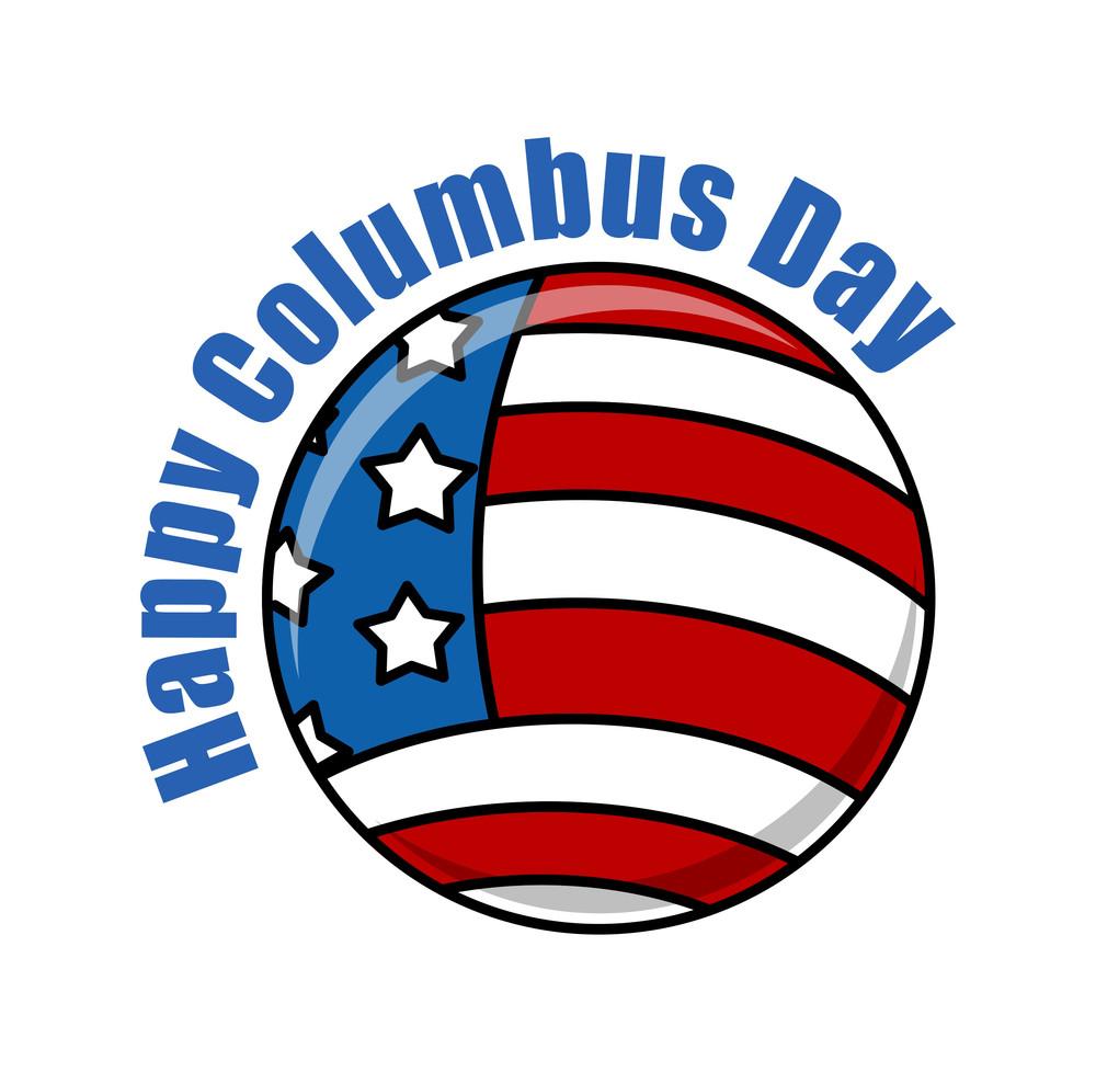 Columbus Day Usa Globe Banner