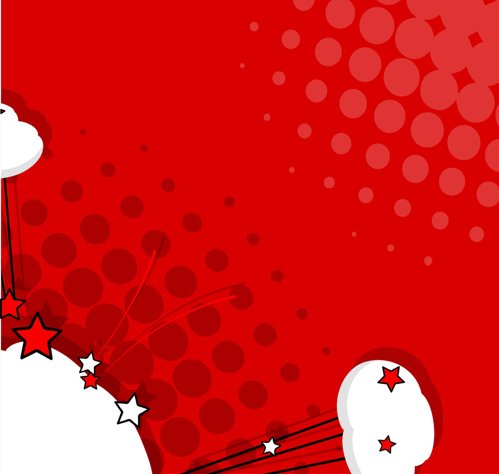 Comic Clouds Stars Vector Background