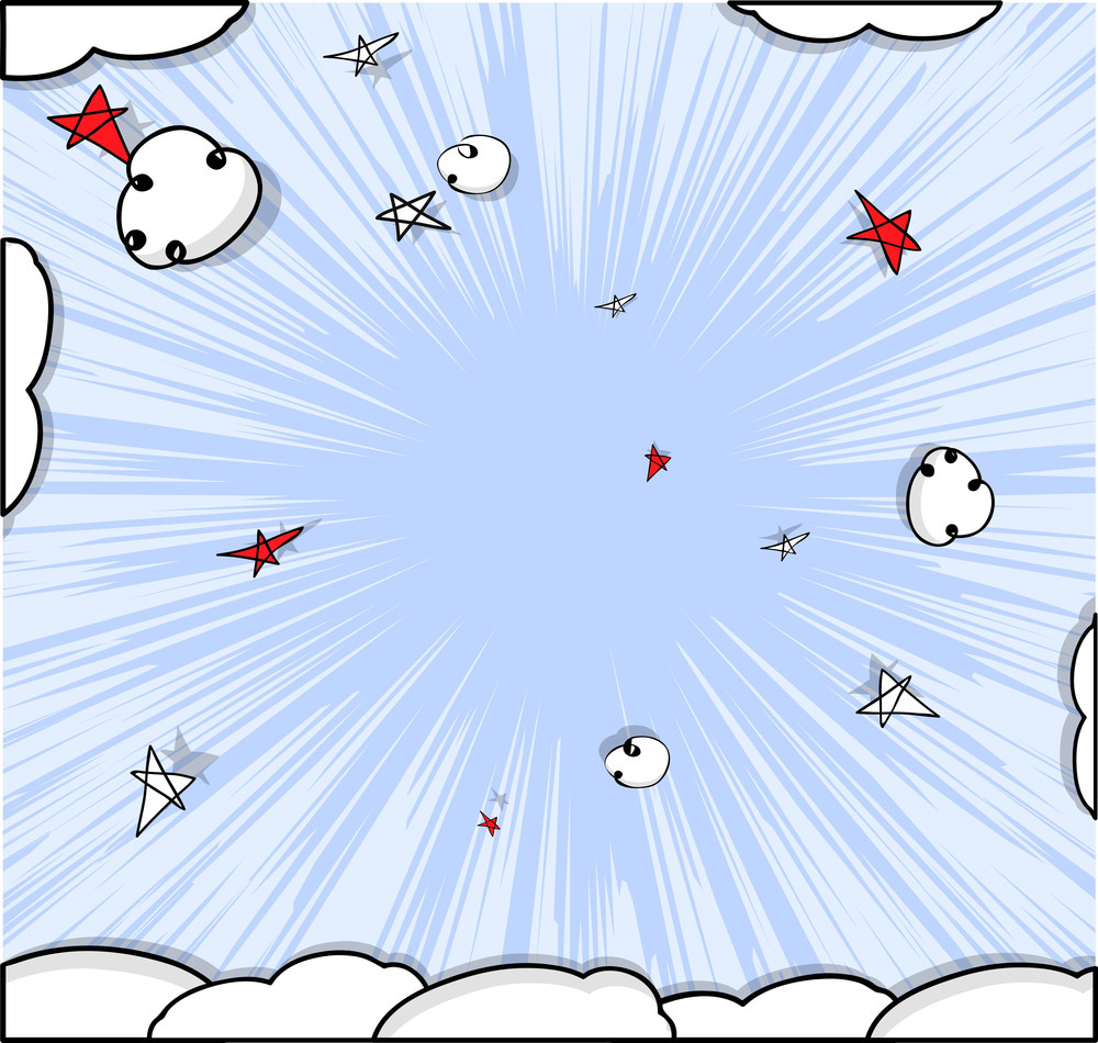 Comic Clouds Vector Graphic Background