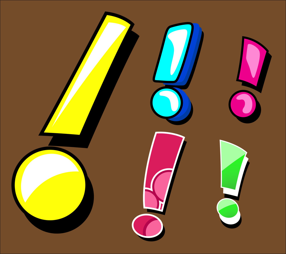 Comic Exclamation Mark Set In Vector Format