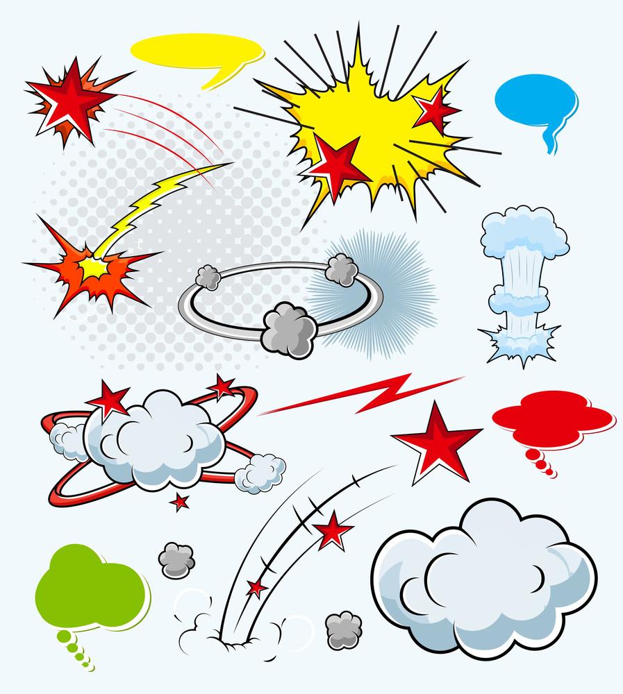 Comic Explosion Cloud Burst Expressions Vector Illustration