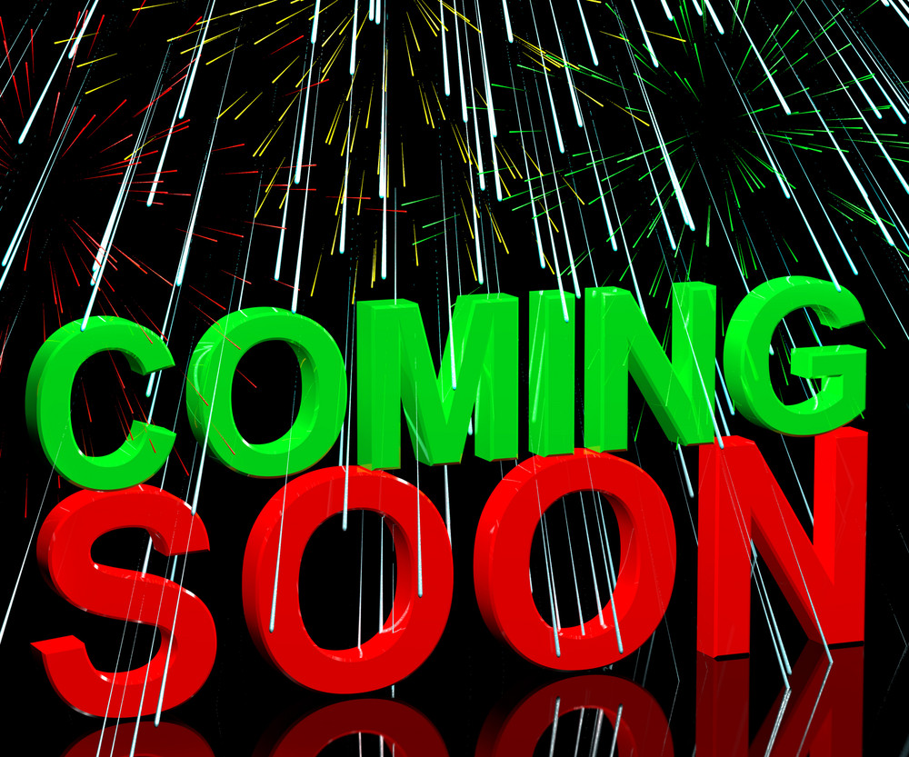 Coming Soon Words With Fireworks Showing New Product Arrival Announcement