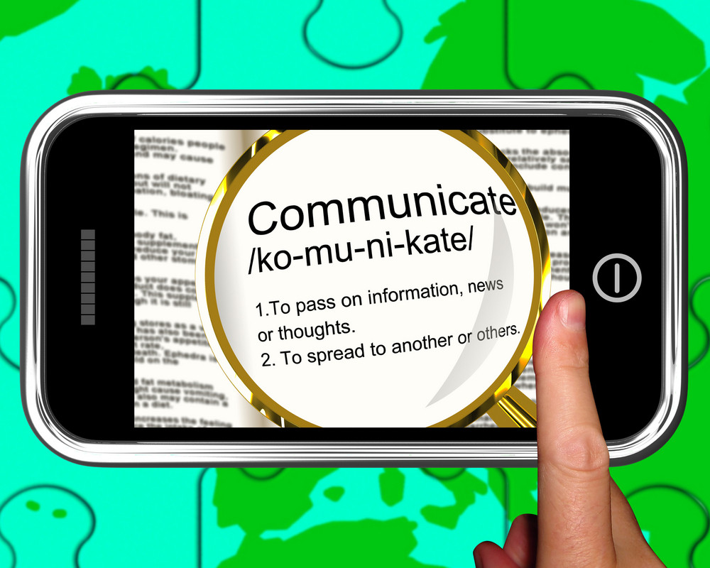 Communicate Definition On Smartphone Showing Online Chatting