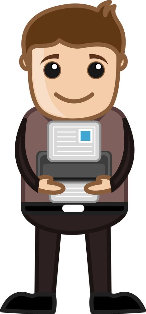 Compact Printer - Business Cartoons Vectors