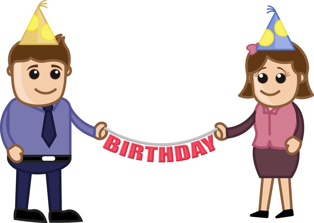 Company Birthday Party - Cartoon Business Characters