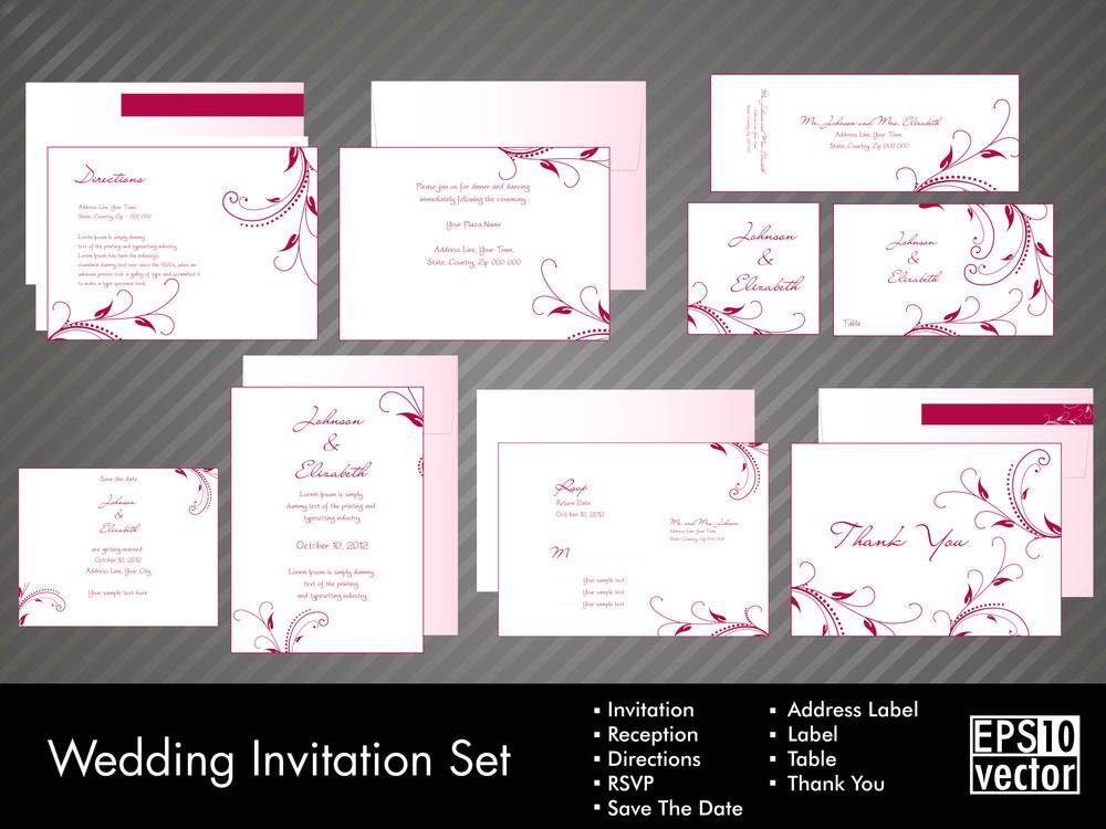 Komplett-Set von Hochzeits-Einladungen oder Ankündigungen mit Blumen Dekorative Kunst.