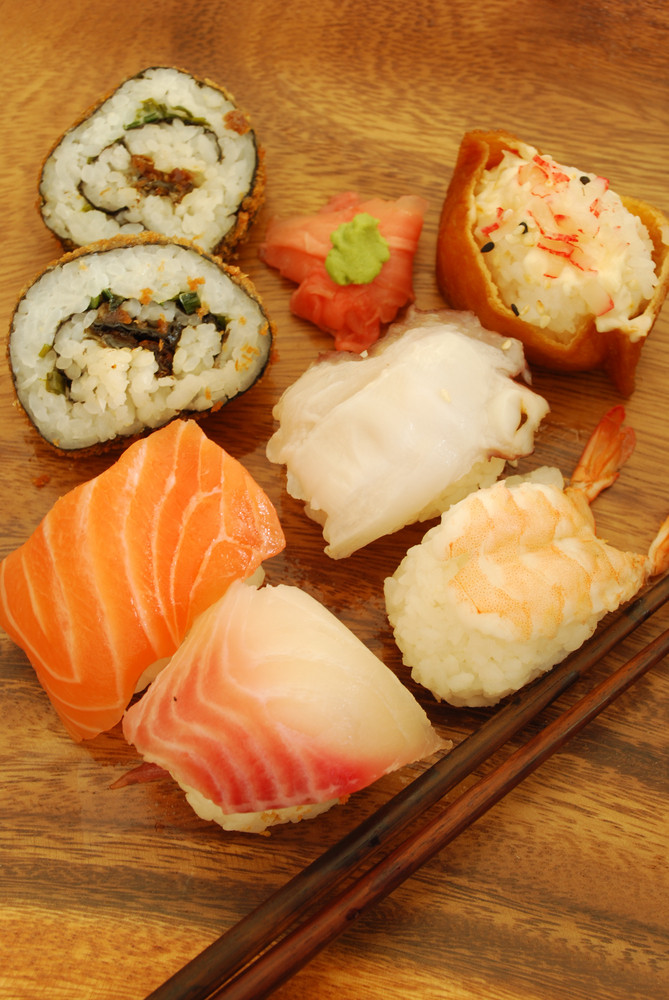 Complete Sushi Meal With Nigiris And Rolls