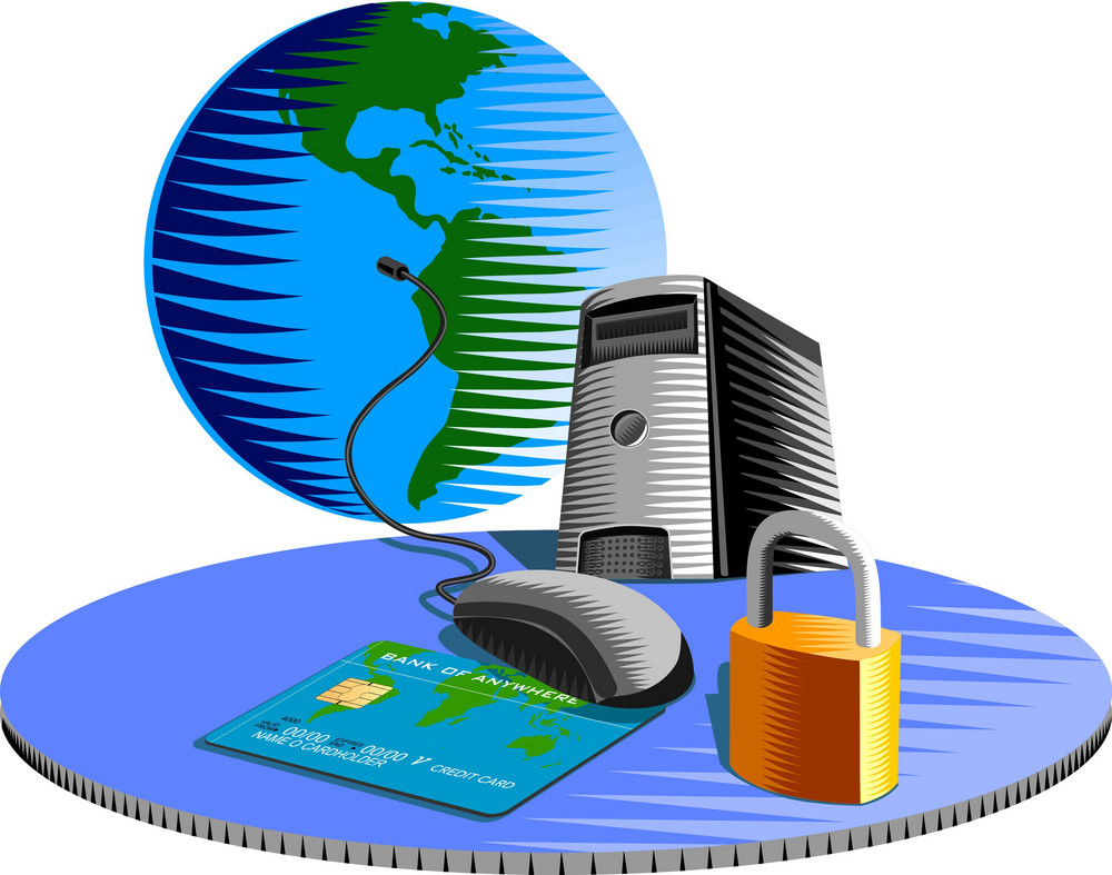 Computer Mouse Credit Card Padlock Retro