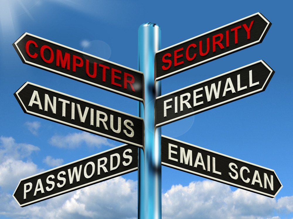 Computer Security Signpost Shows Laptop Internet Safety
