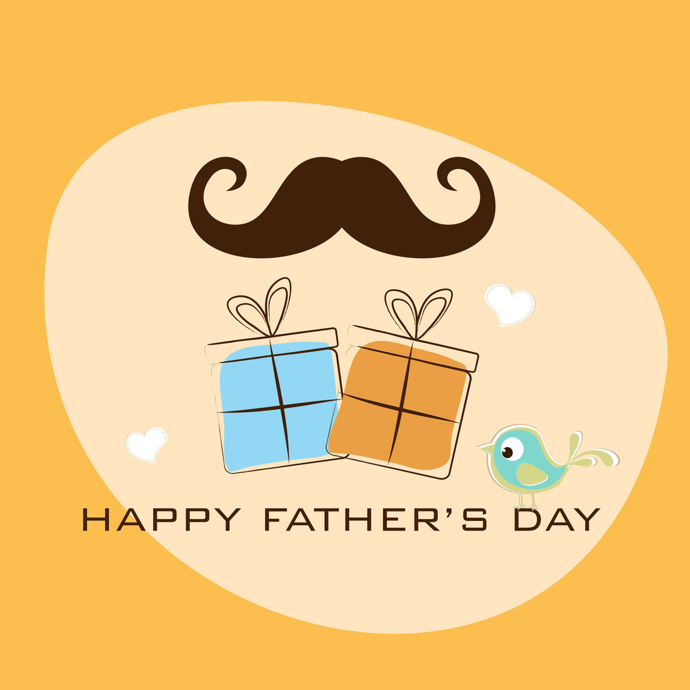 Concept For Happy Fathers Day With Mustache And Gift Boxes