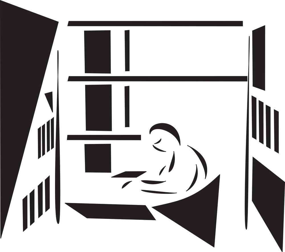 Concept Of Library With A Man Reading Book.