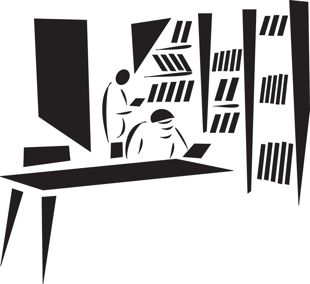 Concept Of Library With Two Man.