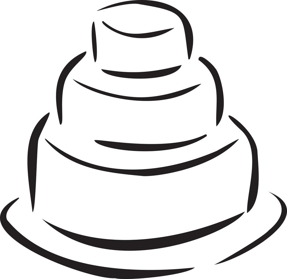 Concept Of Wedding With Wedding Cake.