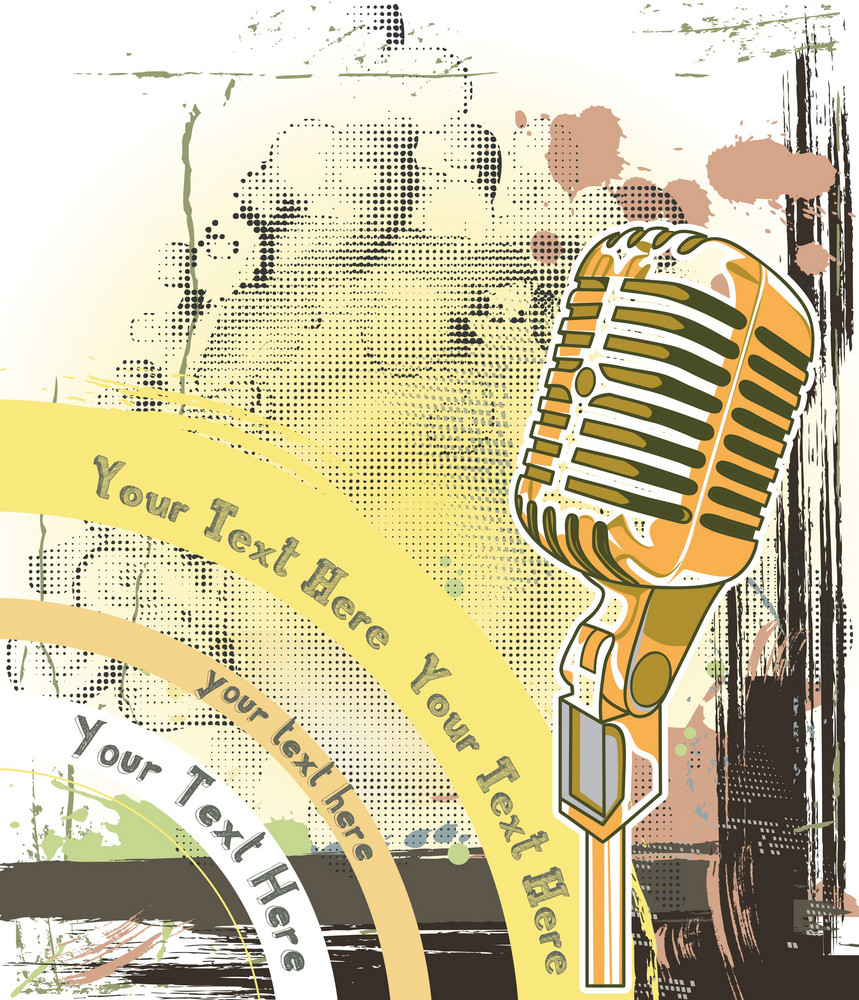 Concert Poster With Grunge And Microphone
