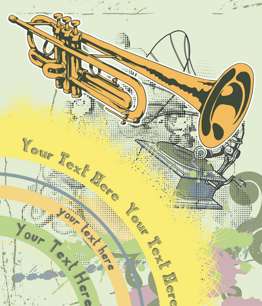 Concert Poster With Grunge And Trumpet