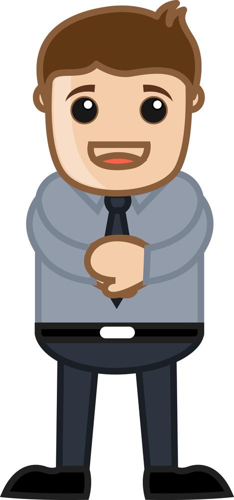 Confident Man - Business Cartoon Character Vector