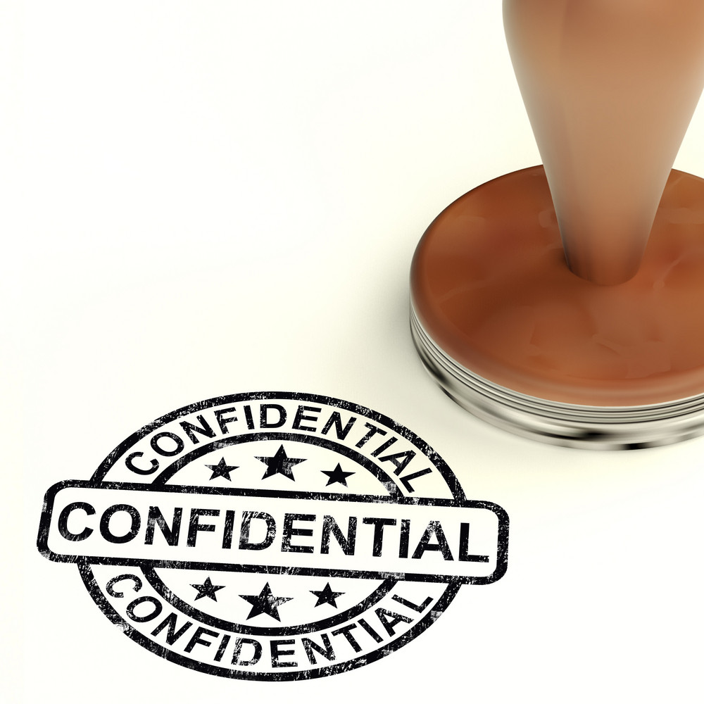 Confidential Stamp Showing Private Correspondence Or Documents