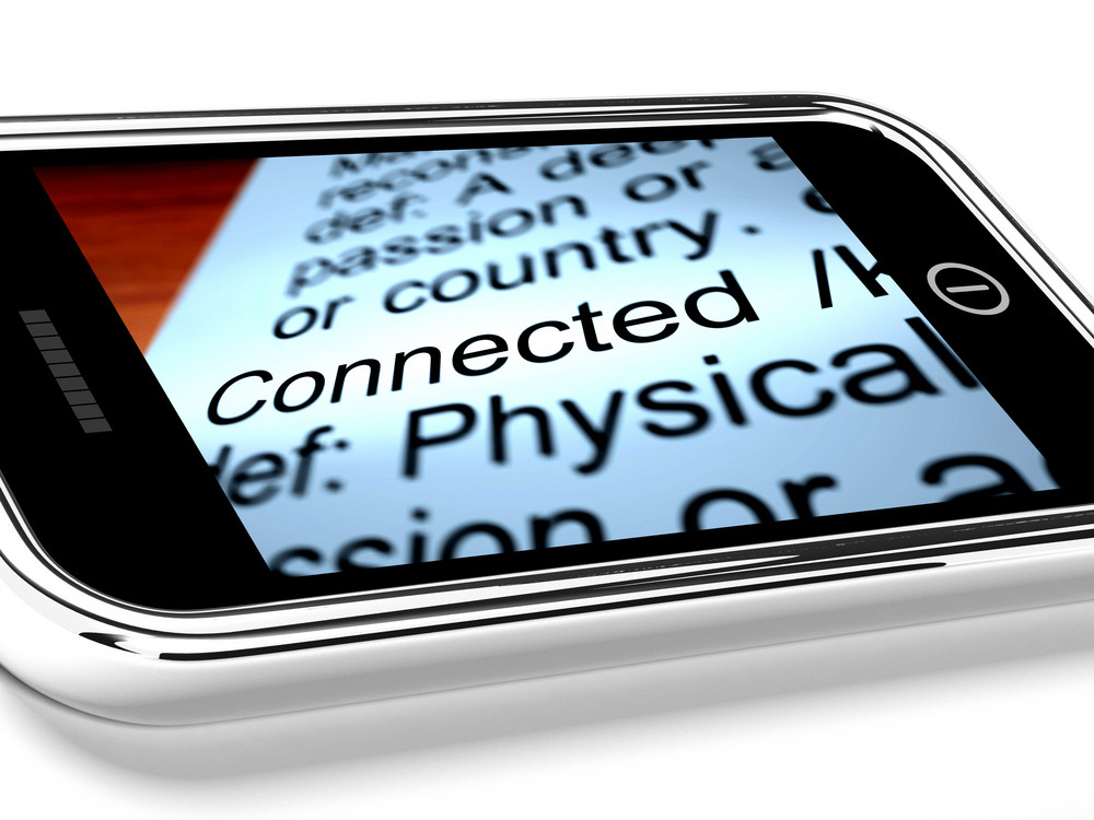 Connected Definition On Mobile Phone Shows Online Connection