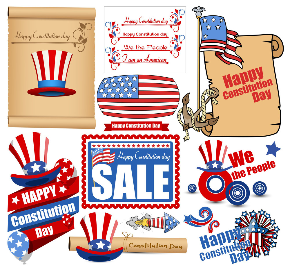 Constitution Day Vector Set Illustration