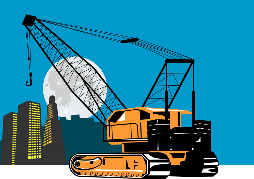 Construction Crane Hoist Retro