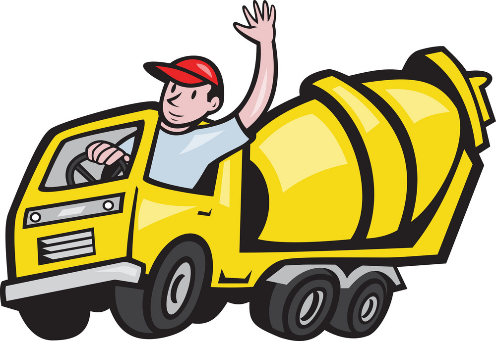Construction Worker Driver Cement Mixer Truck