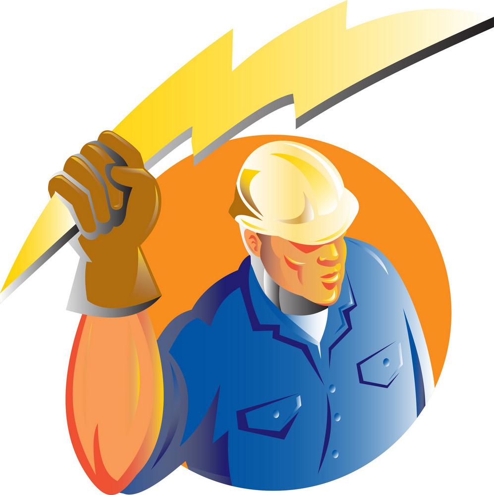 Construction Worker Electrician Lightning Bolt