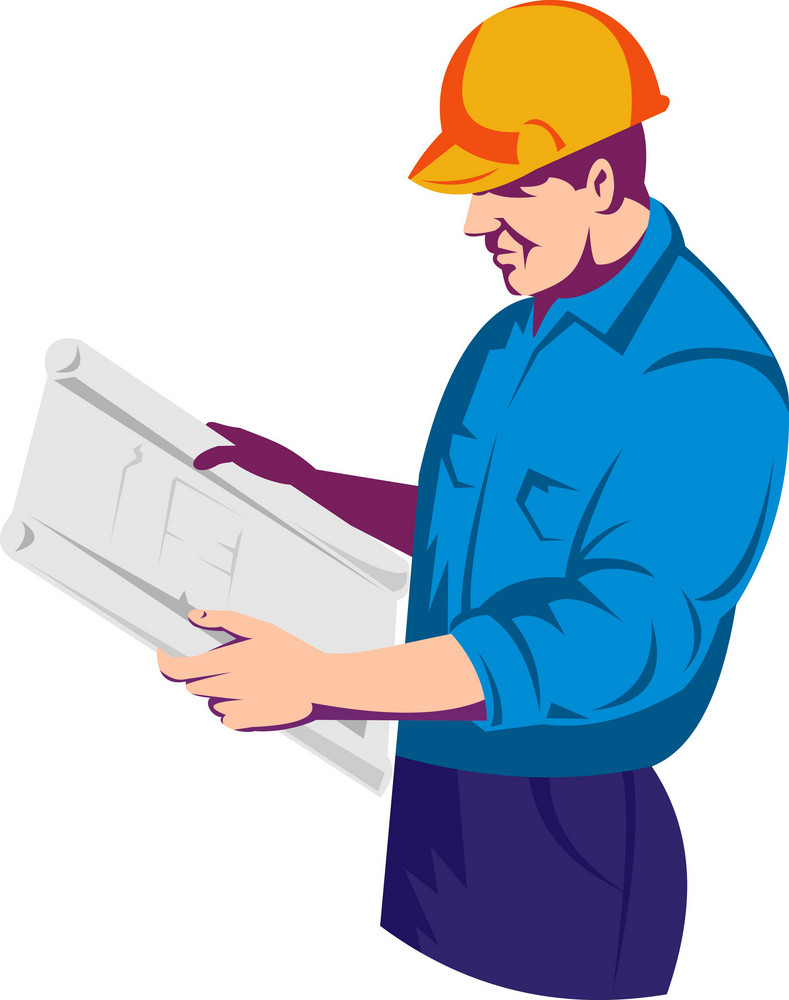 Construction Worker Engineer With Building Plan