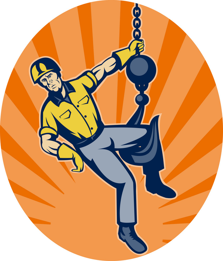 Construction Worker Hanging On Hook