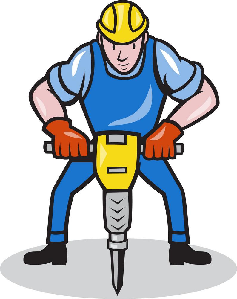 Construction Worker Jackhammer Pneumatic Drill