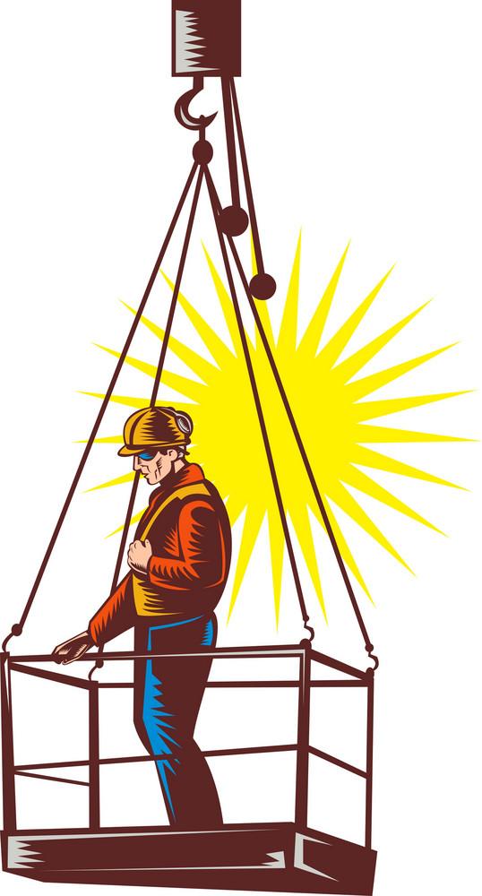 Construction Worker On Platform Being Hoisted Up