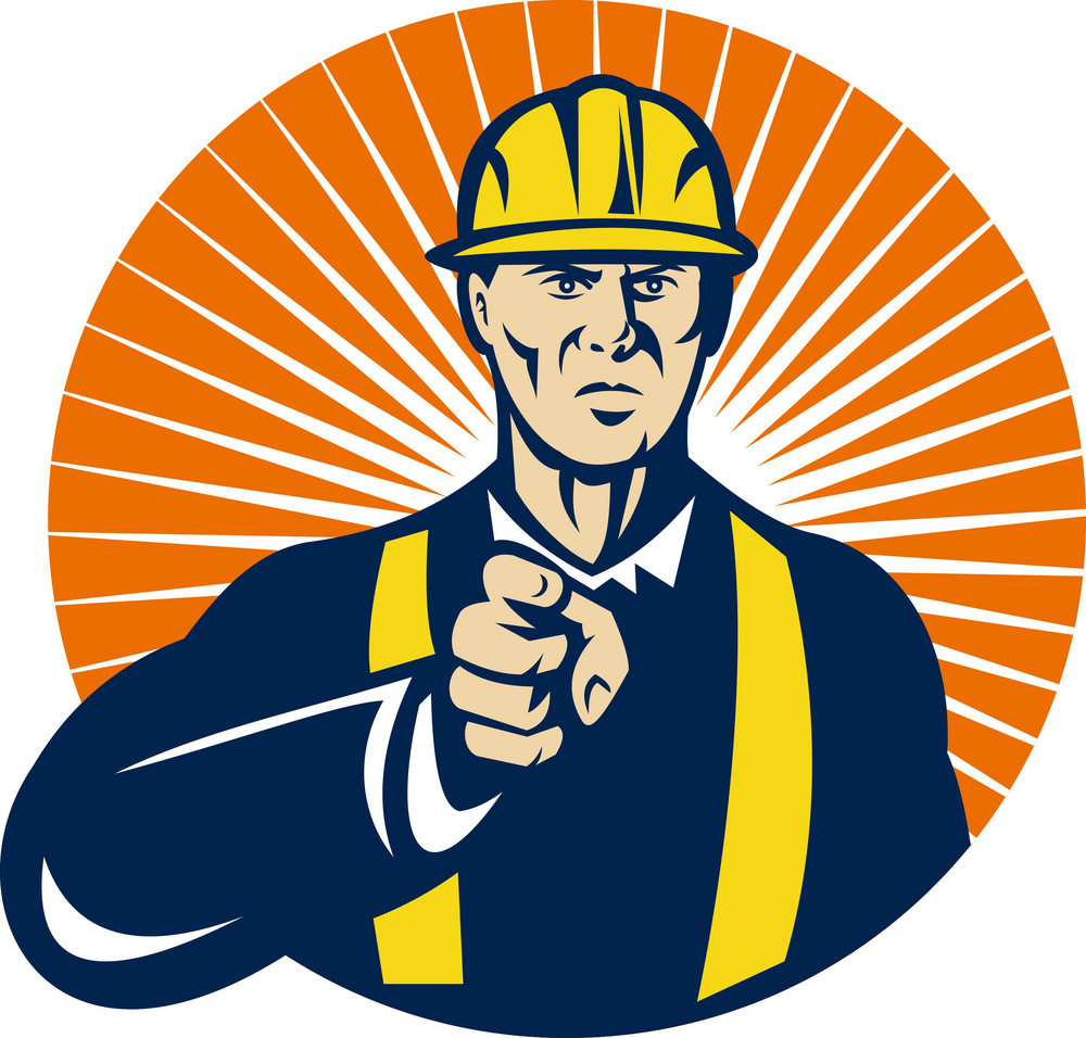Construction Worker Pointing At You