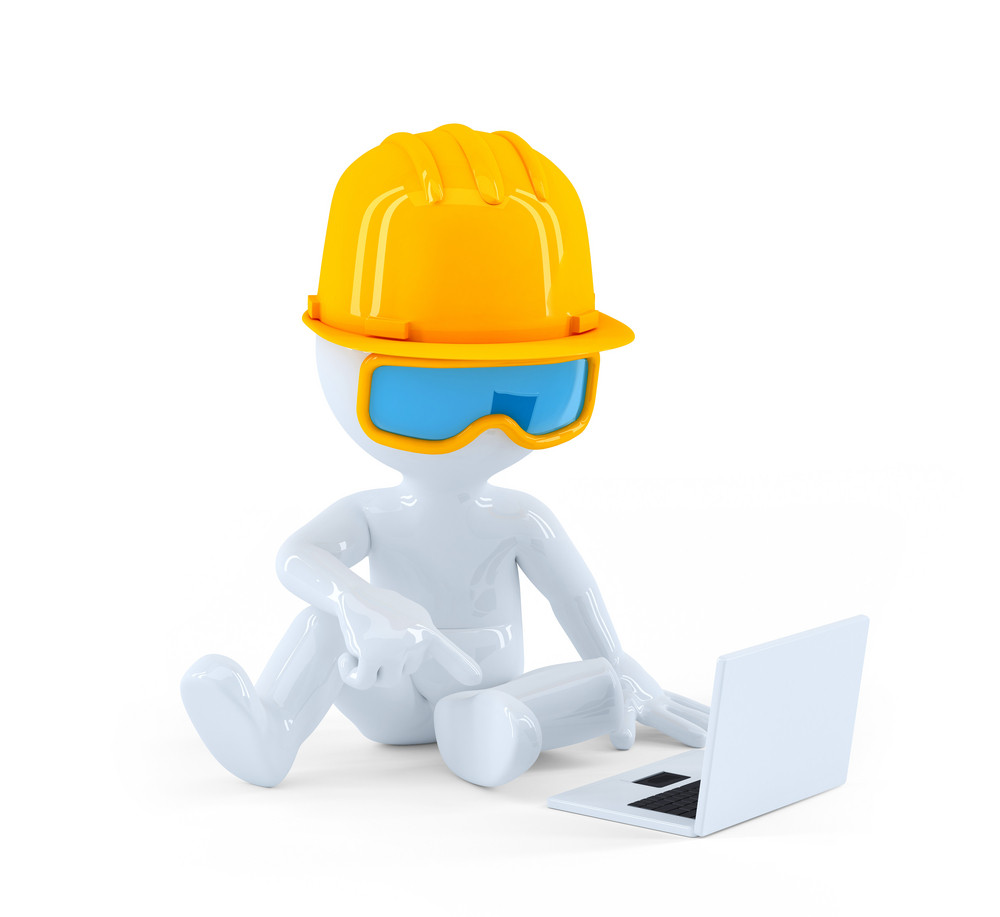 Construction Worker Using Laptop Computer