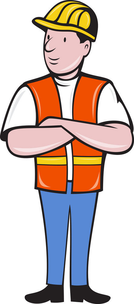 Construction Worker With Arms Folded