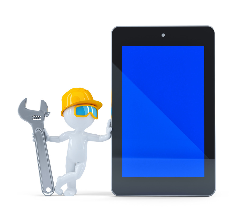 Construction Worker With Blank Screen Tablet