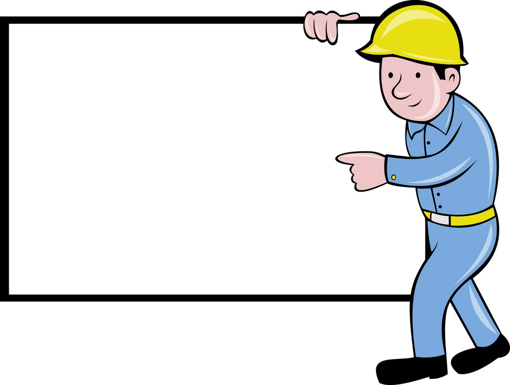 Construction Worker With White Board Pointing