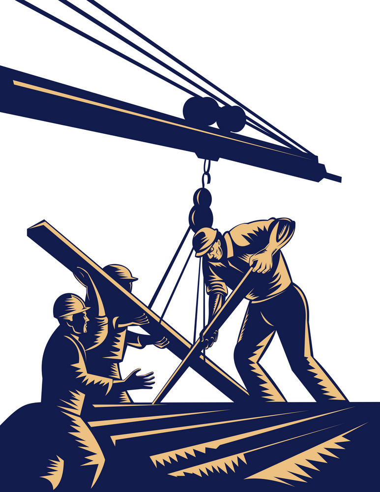Construction Workers Hoisting Timber On Boom